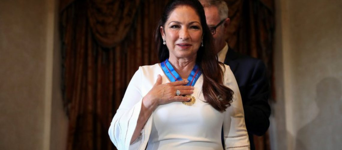 Cuban-American singer Gloria Estefan reacts upon being awarded Spain's Gold Medal of Merit for the Arts from Spain's Culture Minister Jose Guirao Cabrera in Madrid, Spain, July 23, 2018. REUTERS/Susana Vera